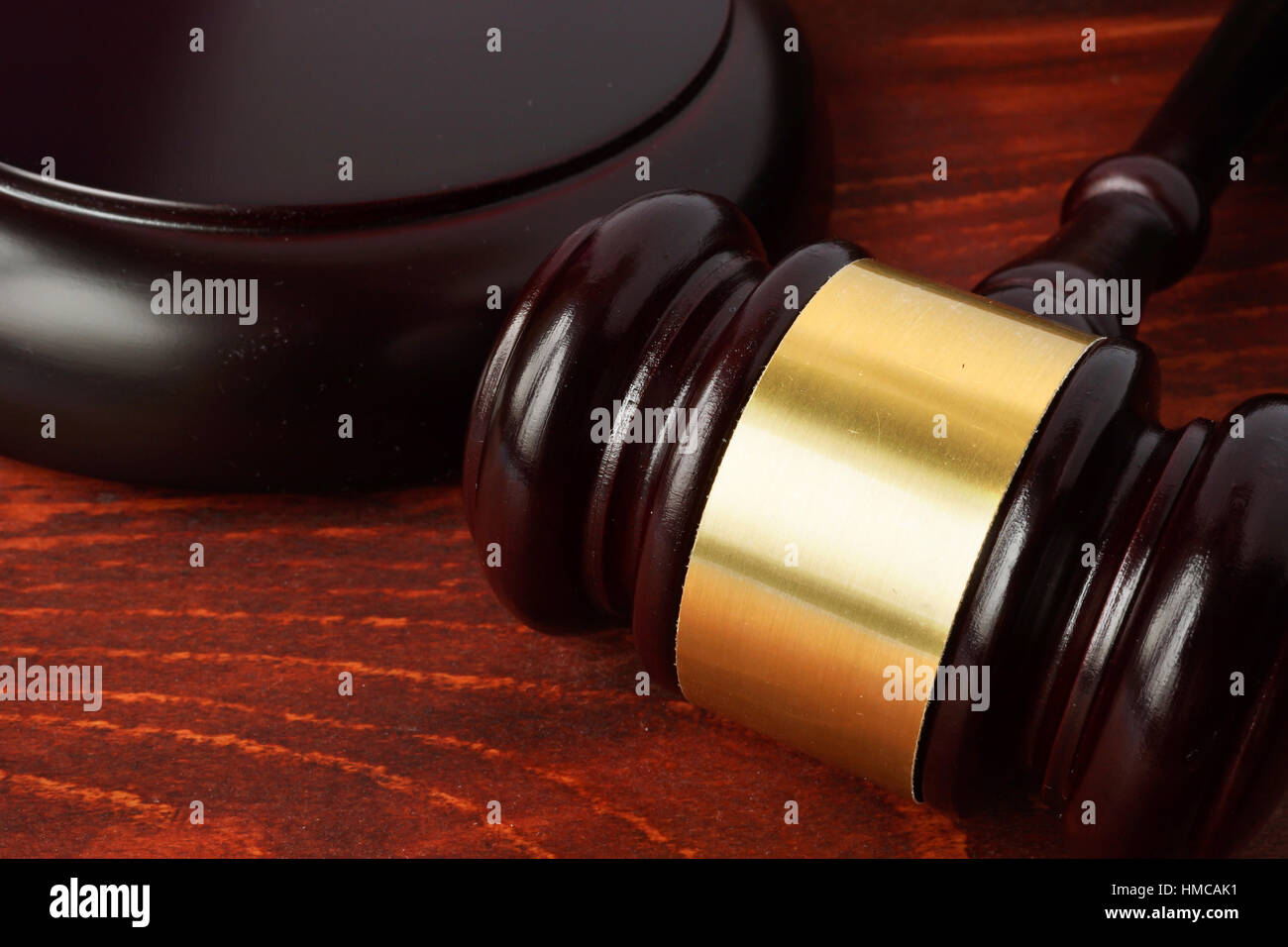 Gavel on a wooden table. Justice concept. Stock Photo