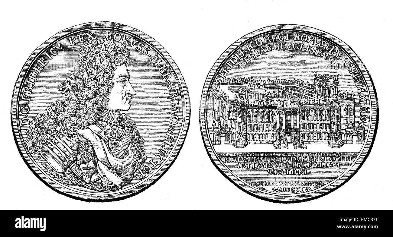 Medal with the image of Frederick I of Prussia, on the back the royal castle in Berlin, ca 1700, photo or illustration, - Stock Image
