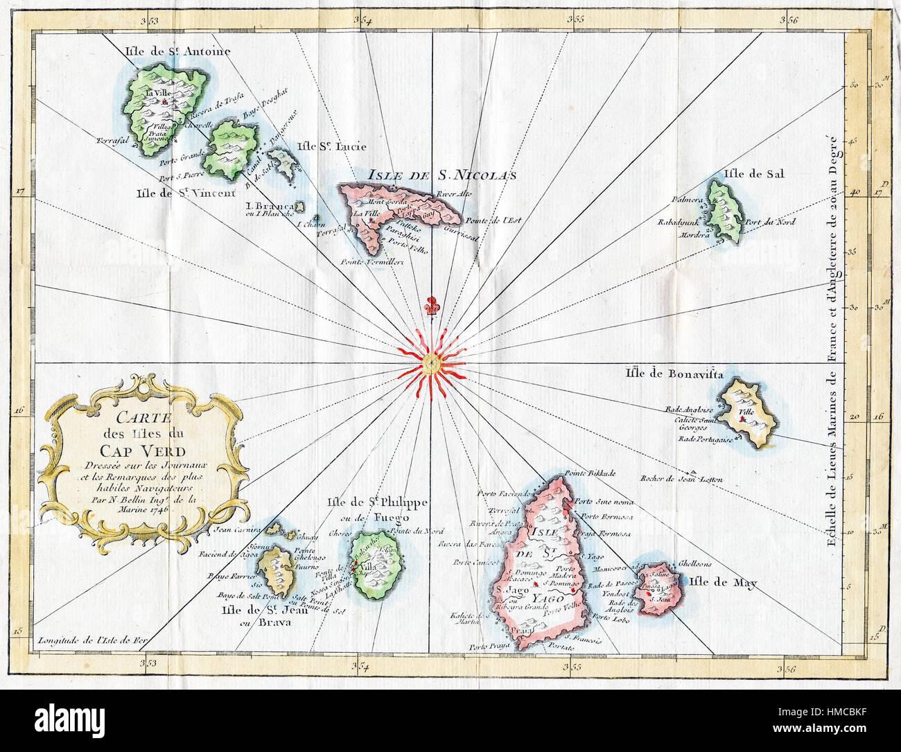 1757 Attractive Bellin Map of Cape Verde Islands Stock Photo ...