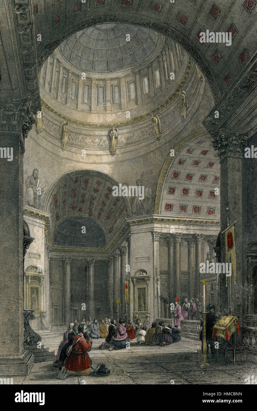 1830 Interior of Kazan Cathedral in St.Petersburg - Stock Image
