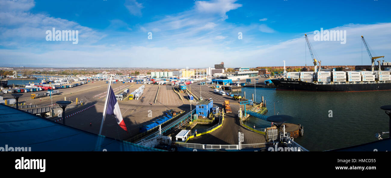 Car ferry terminal Portsmouth Harbour looking down from Brittany Ferries boat at the car stacking area - Stock Image