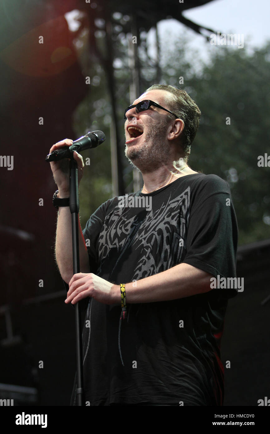 PRAGUE, CZECH REPUBLIC - JUNE 25, 2016: Singer Richard Muller performs live on stage during a concert at Metronome - Stock Image