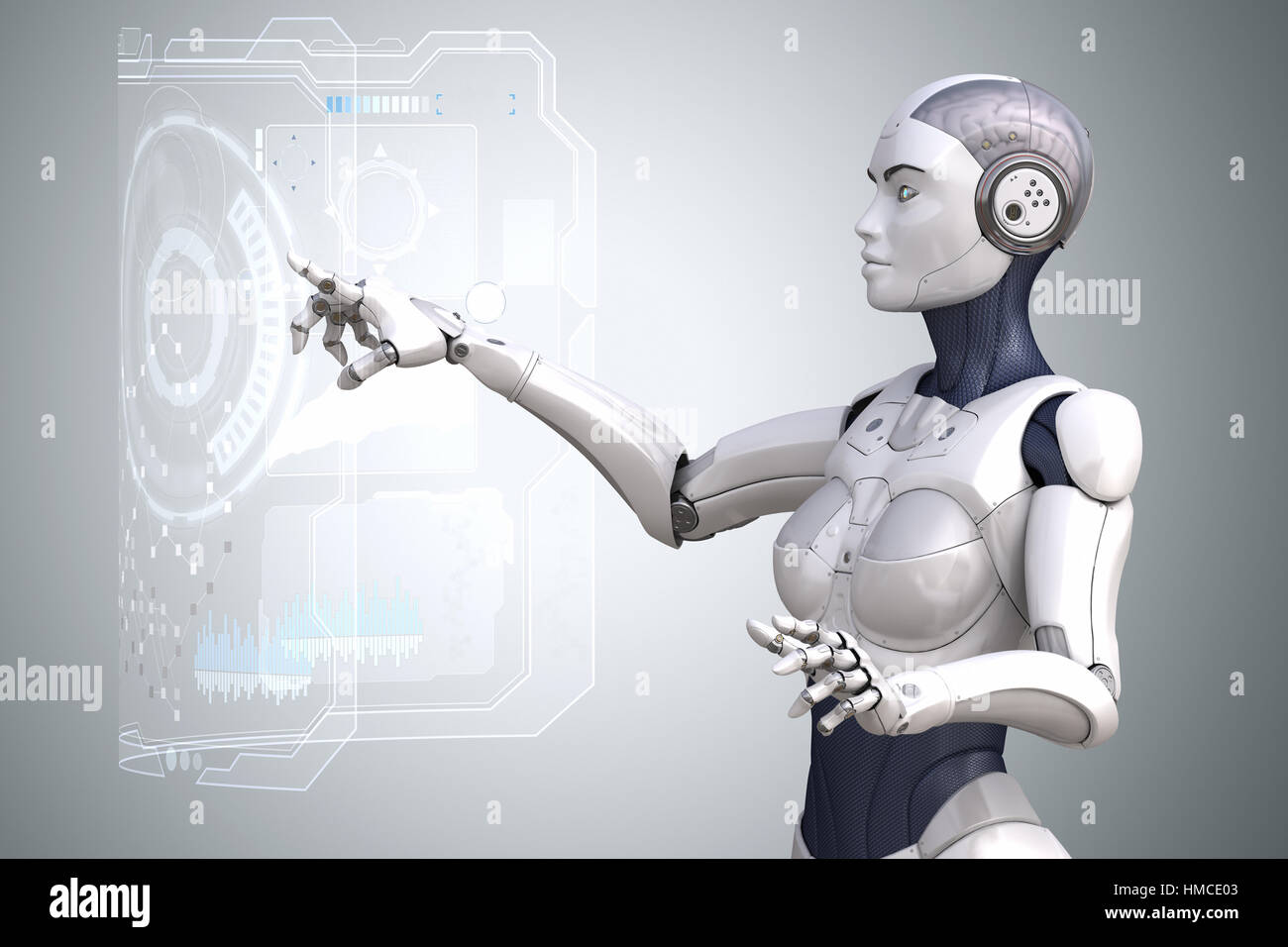 Robot is working with Virtual Reality touchscreen. 3D illustration - Stock Image