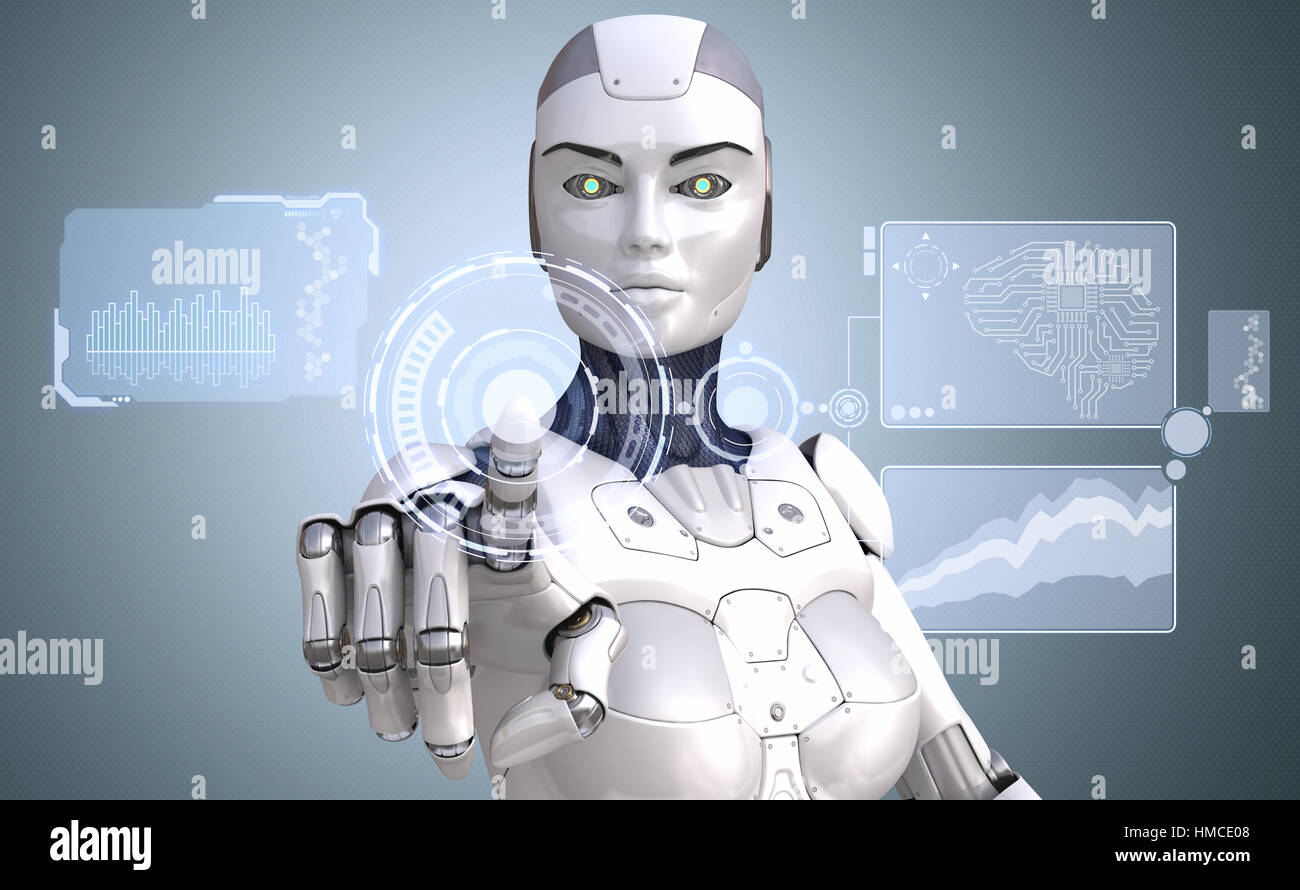 Robot is working with high tech touchscreen. 3D illustration - Stock Image