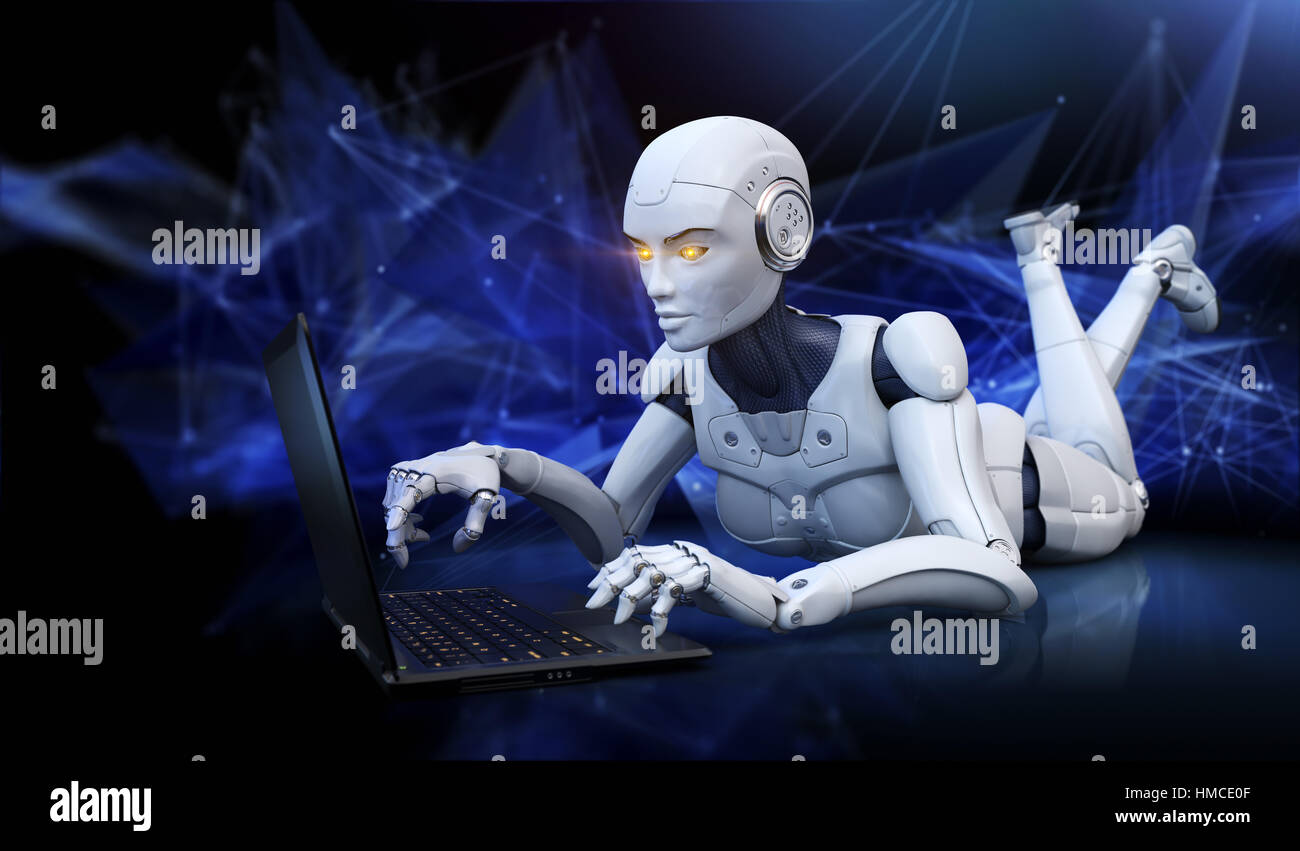 Robot lying on floor and using laptop. 3D illustration - Stock Image