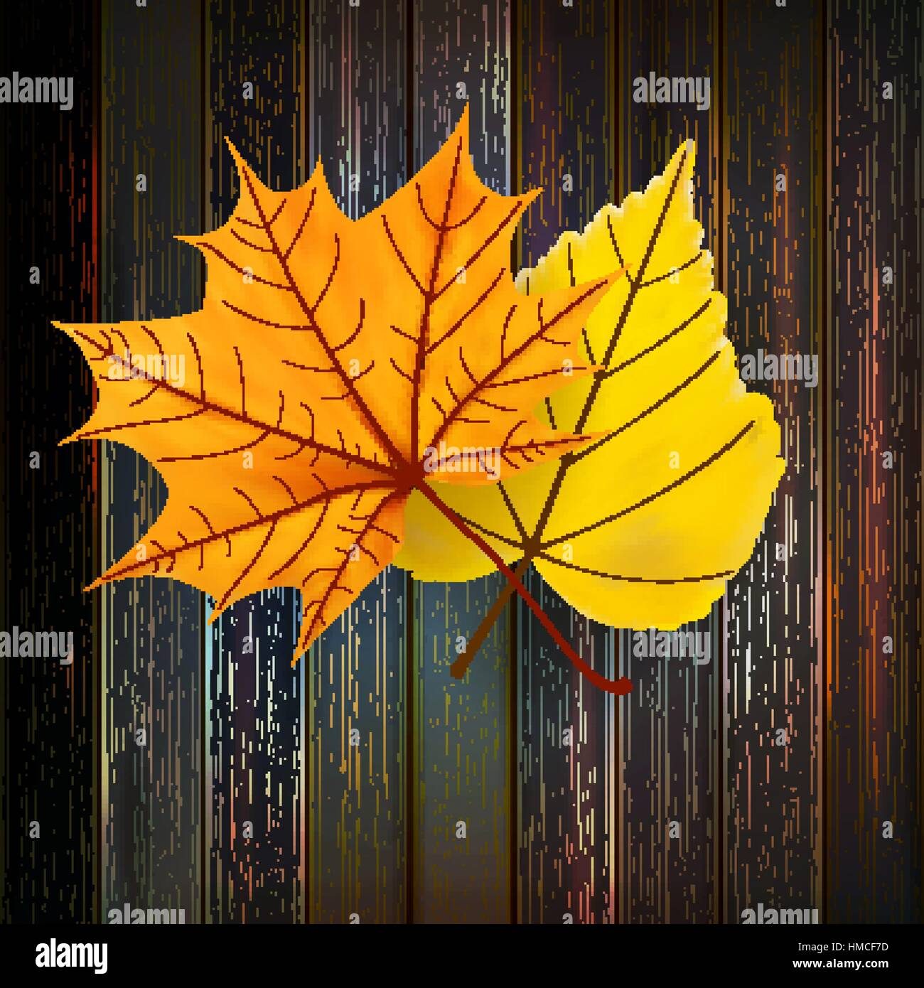 Autumn Leaves over wooden background With copy space. plus EPS10 vector file Stock Vector