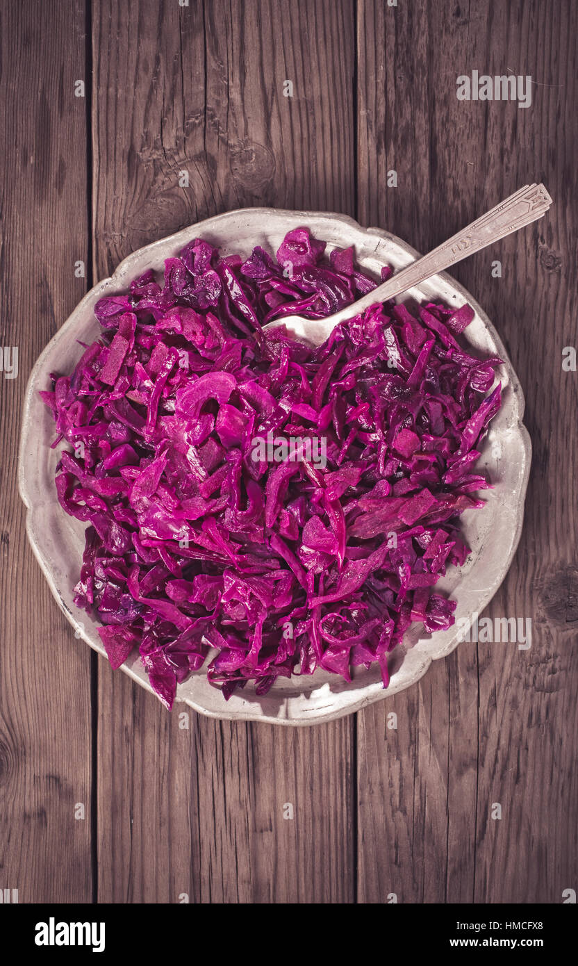 German red cabbage on plate above - Stock Image