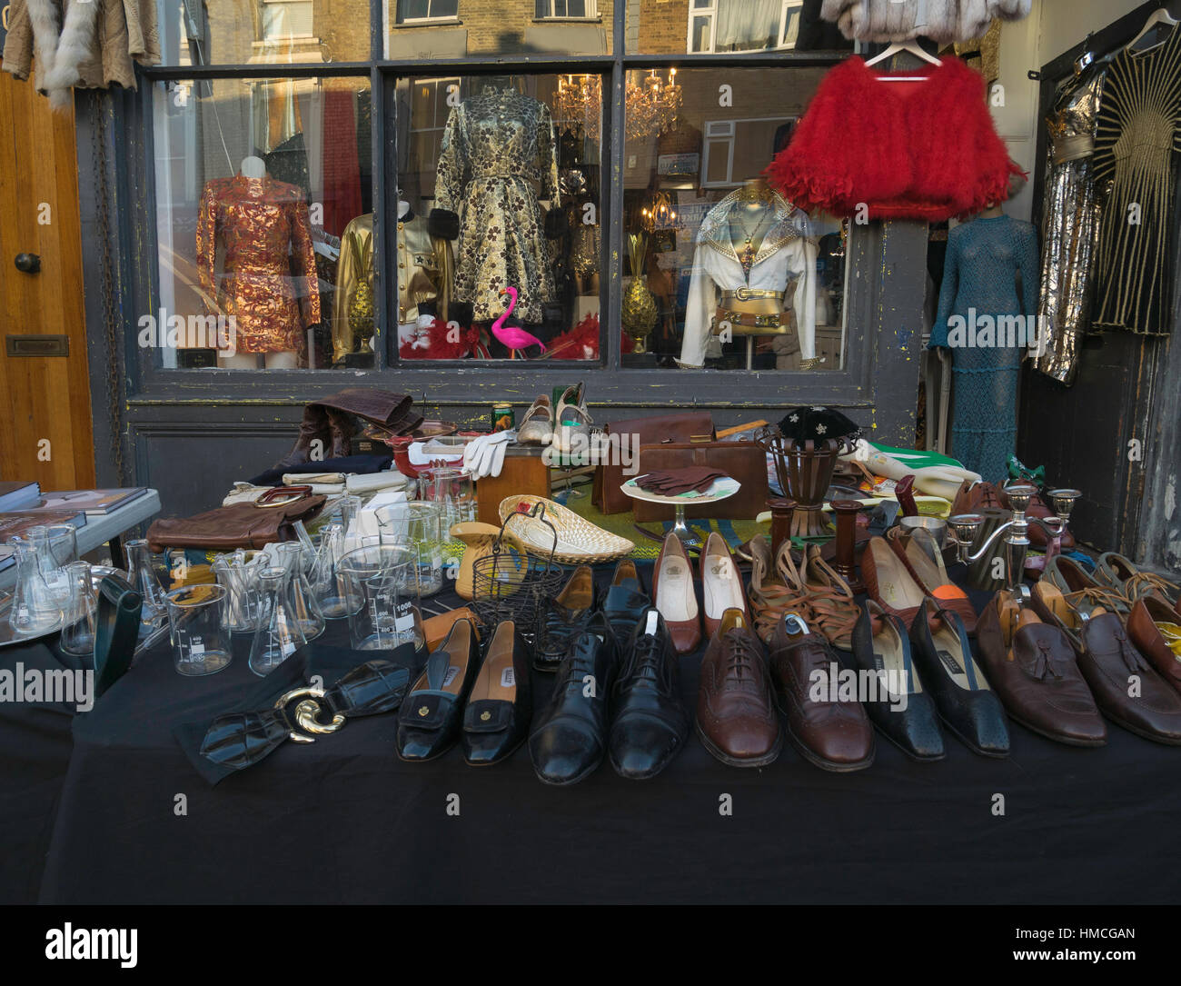 Vintage clothes shop, Portobello Road, Notting Hill, London, England,UK - Stock Image