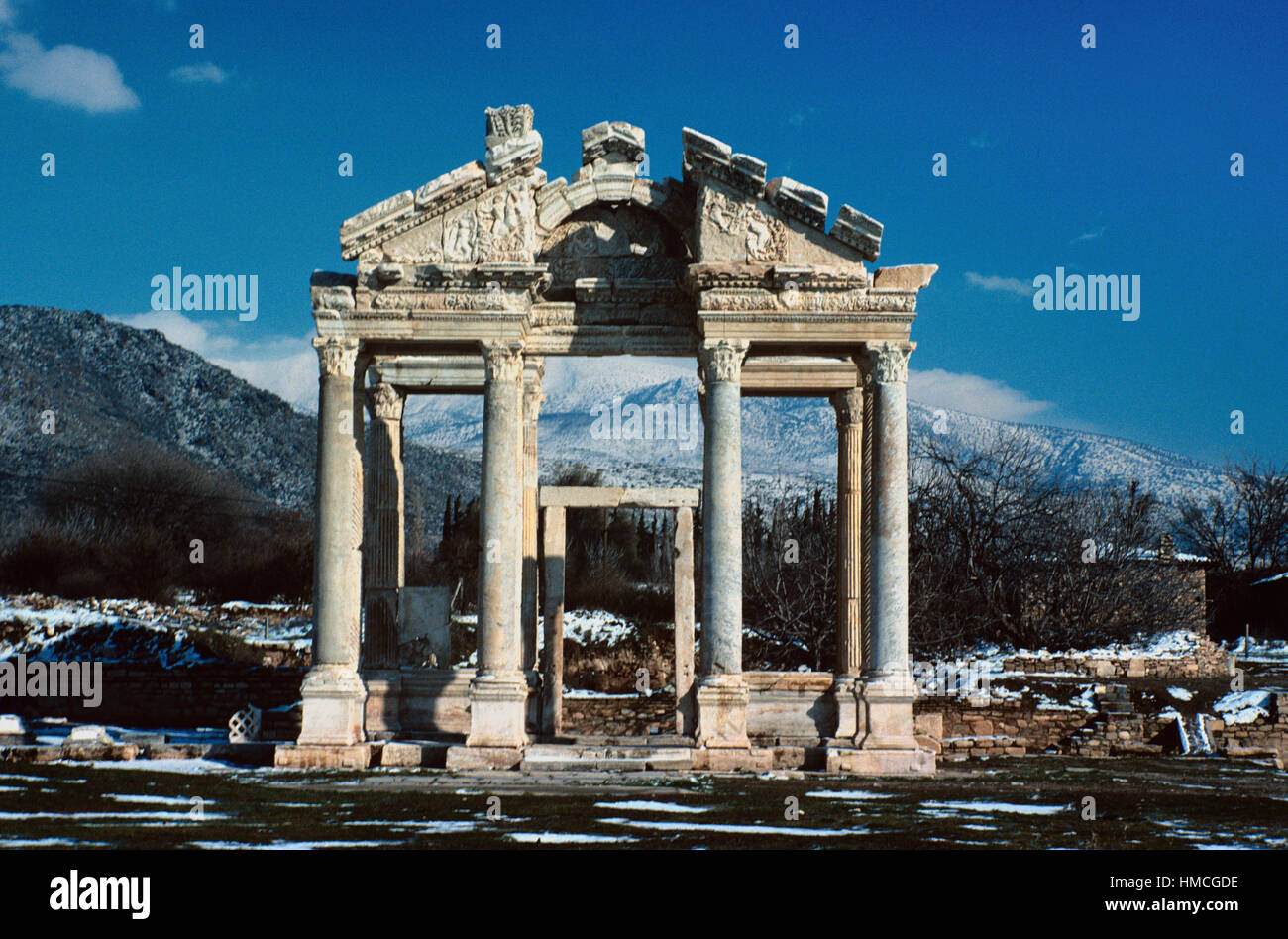 The Monumental Gateway or Tetrapylon (AD 200) in the Ruins of the Ancient Greek City of Aphrodisias Turkey - Stock Image