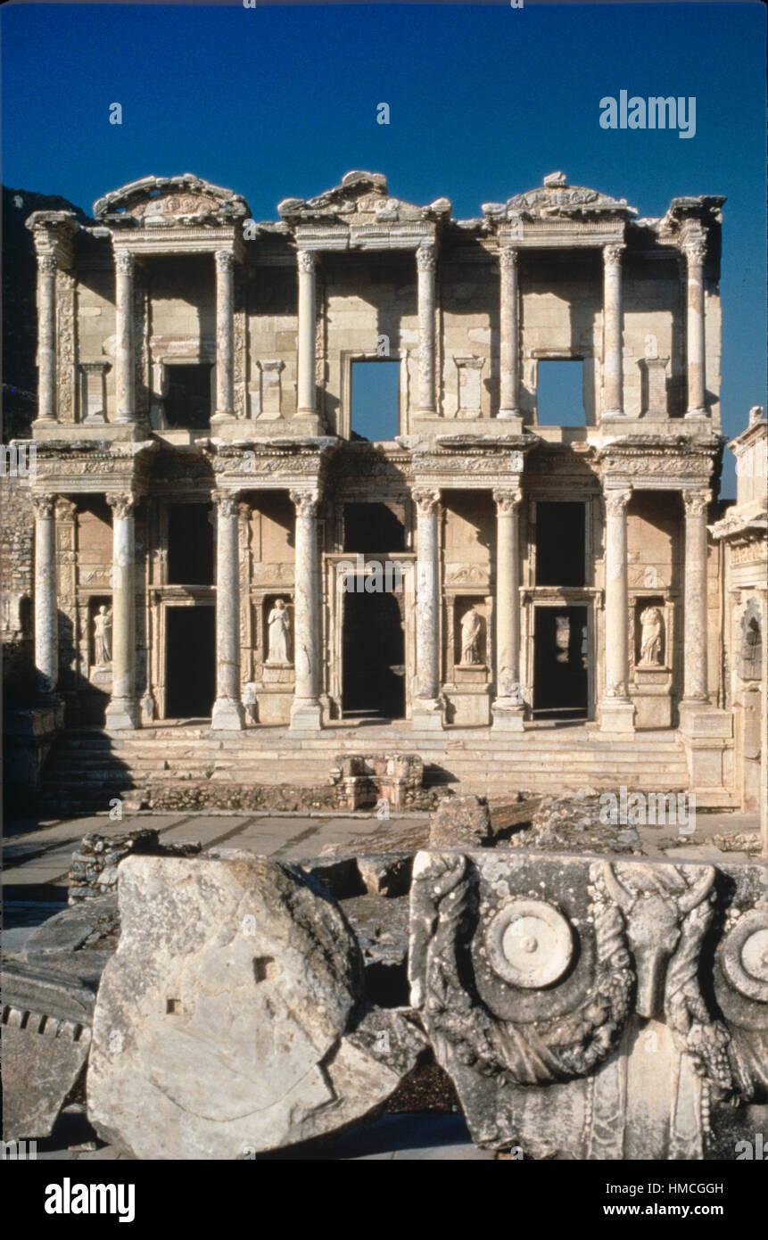 Celsus Library (110-135AD) Ephesus, in Ancient Greek City, Selçuk, Turkey - Stock Image