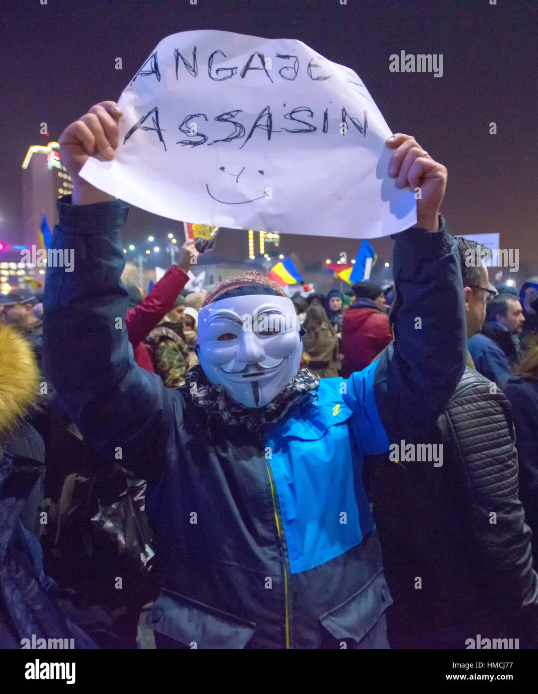Bucharest, Romania - January  2017: Thousand people marched through the Romanian capital on Wednesday night to protest - Stock Image