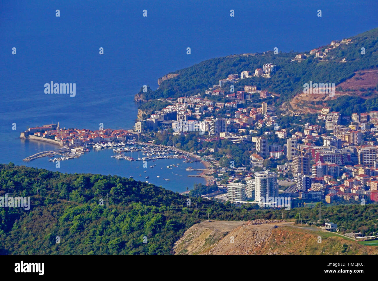 Resort city of Budva with medieval Old Town and marina on Adriatic Sea Stock Photo