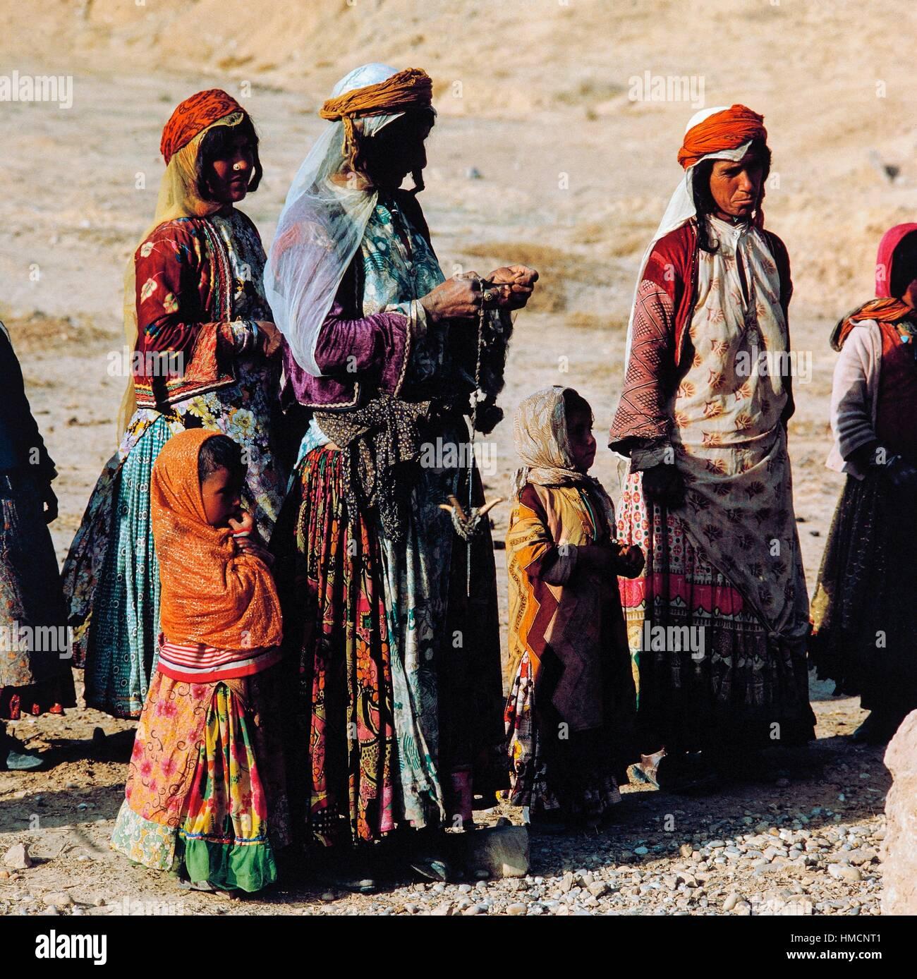 Qashqai women and girls, Zagros Mountains, Iran. - Stock Image