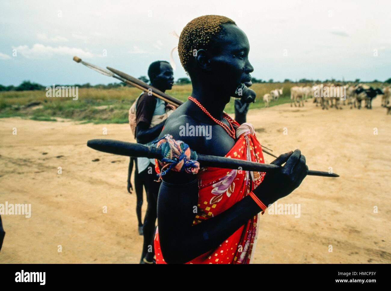 Two members of the Dinka tribe, Kordofan, South Sudan. - Stock Image