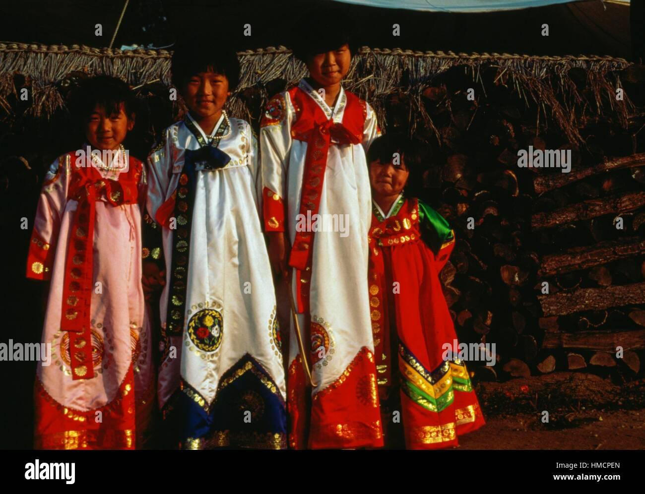 Girls wearing traditional dresses, South Korea. - Stock Image