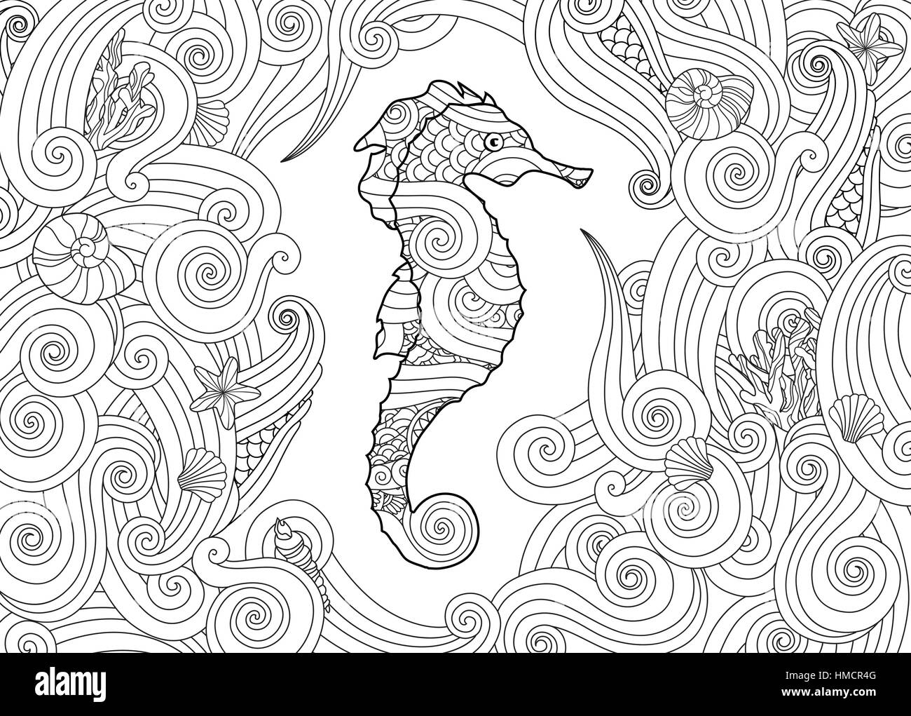 Hand Drawn Sketch Of Seahorse Surrounded By Waves In Zentangle Inspired Style