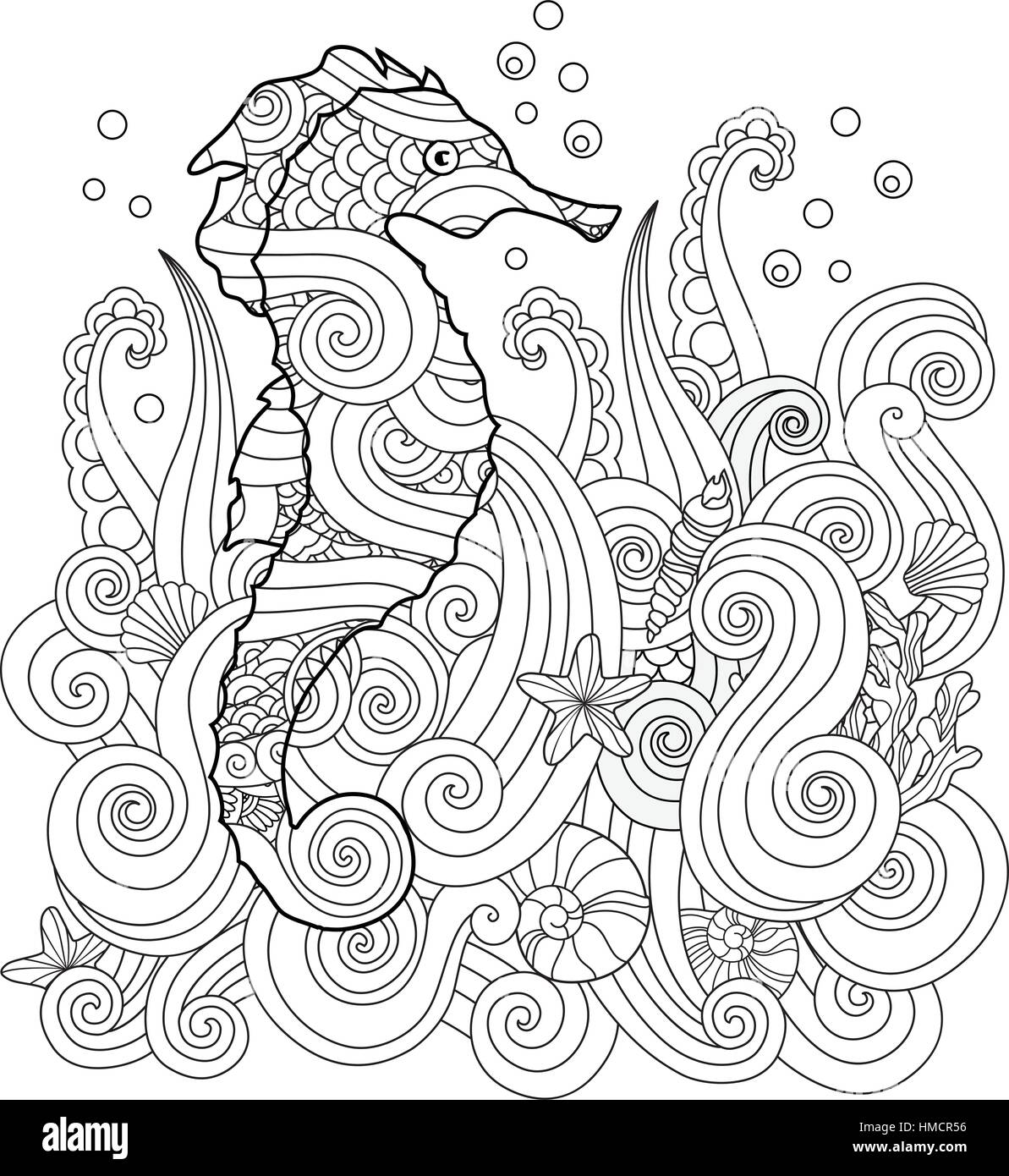 Hand Drawn Sketch Of Seahorse Under The Sea In Zentangle Inspired Style