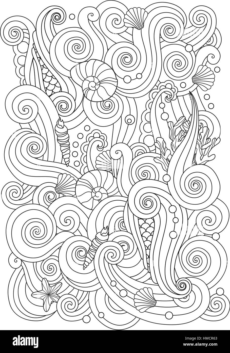 Coloring page with abstract sea background waves, shells, corals ...