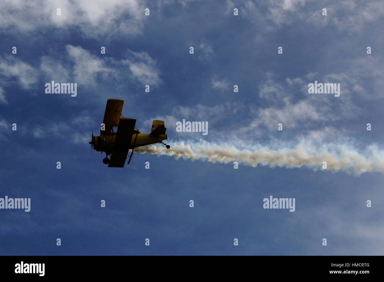 biplane cropduster in marin county - Stock Image