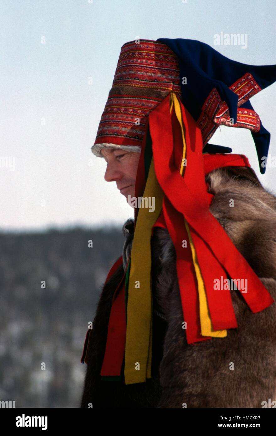 Sami (Laplander) wearing traditional clothes, Inari, Finland. - Stock Image