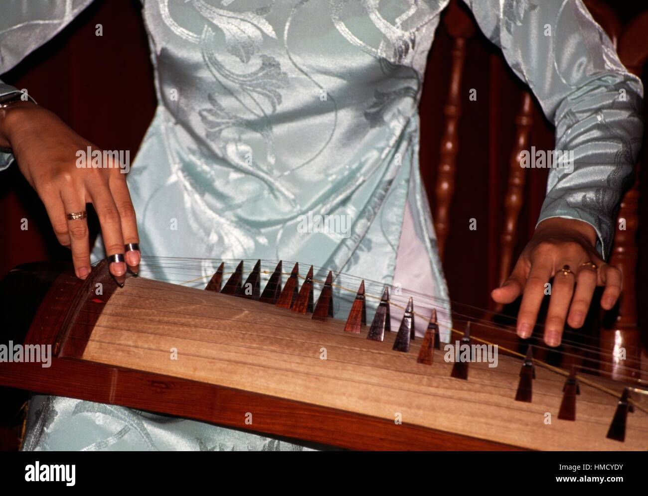 Dan bau, stringed instrument, detail of the hands playing it, Saigon, Vietnam. - Stock Image