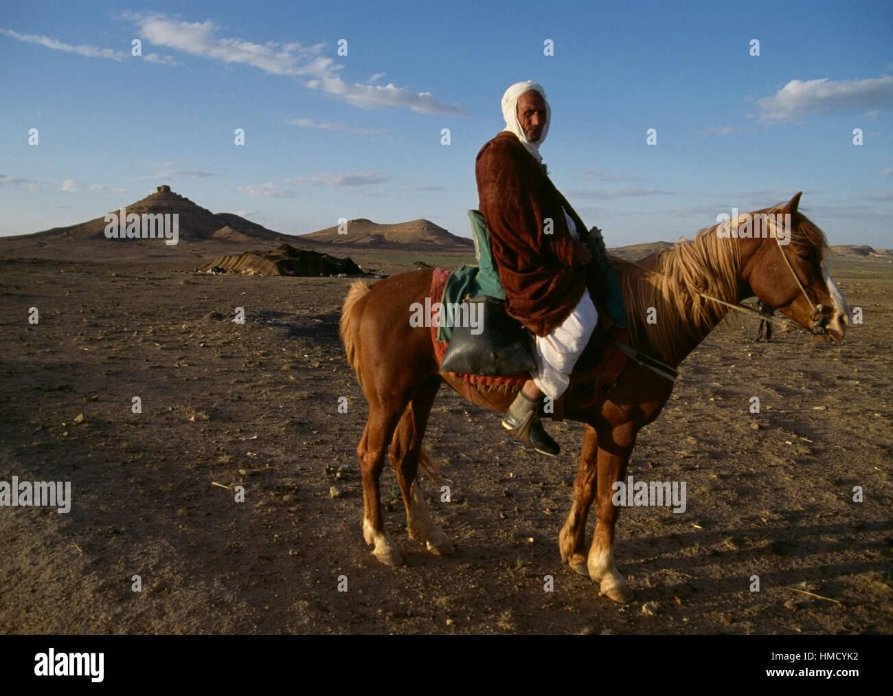 A man on horseback, Djebel Amour, Algeria. - Stock Image