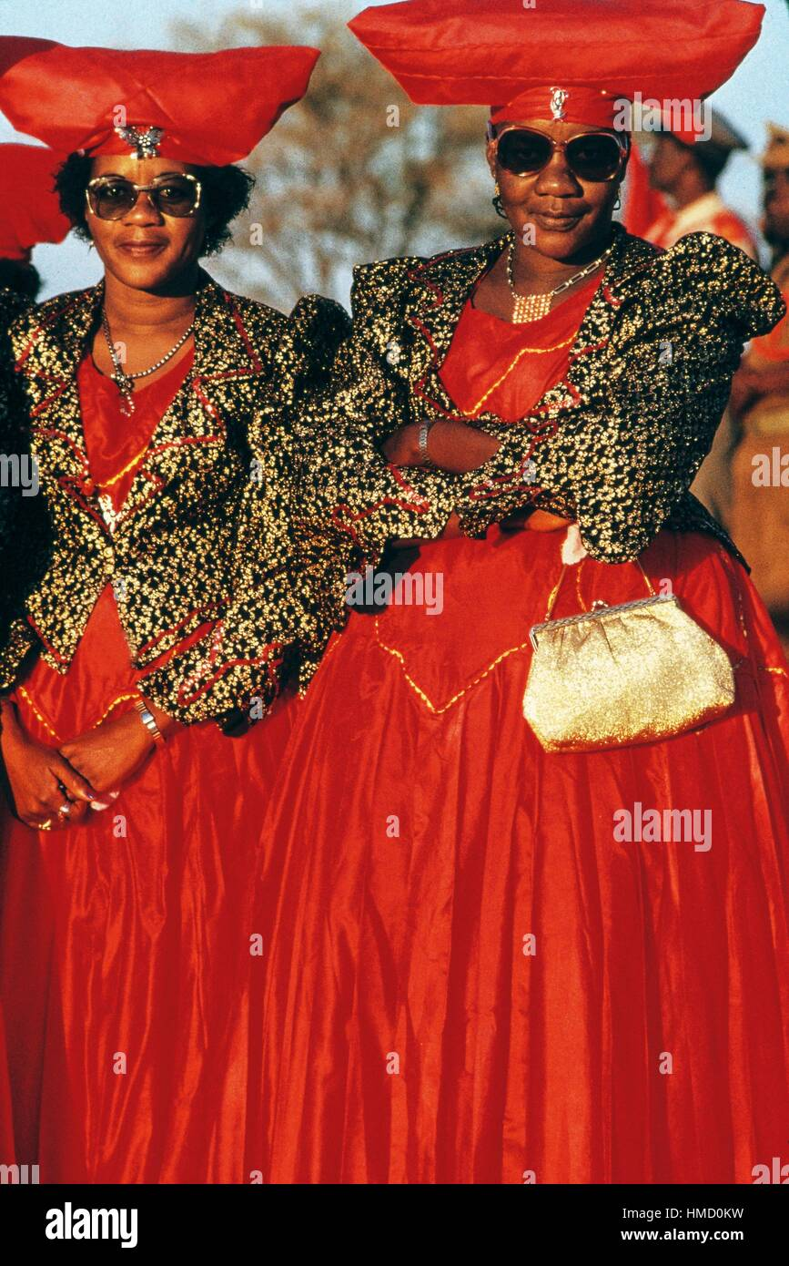 Herero women wearing traditional headgear, Okahandja, Namibia. Stock Photo