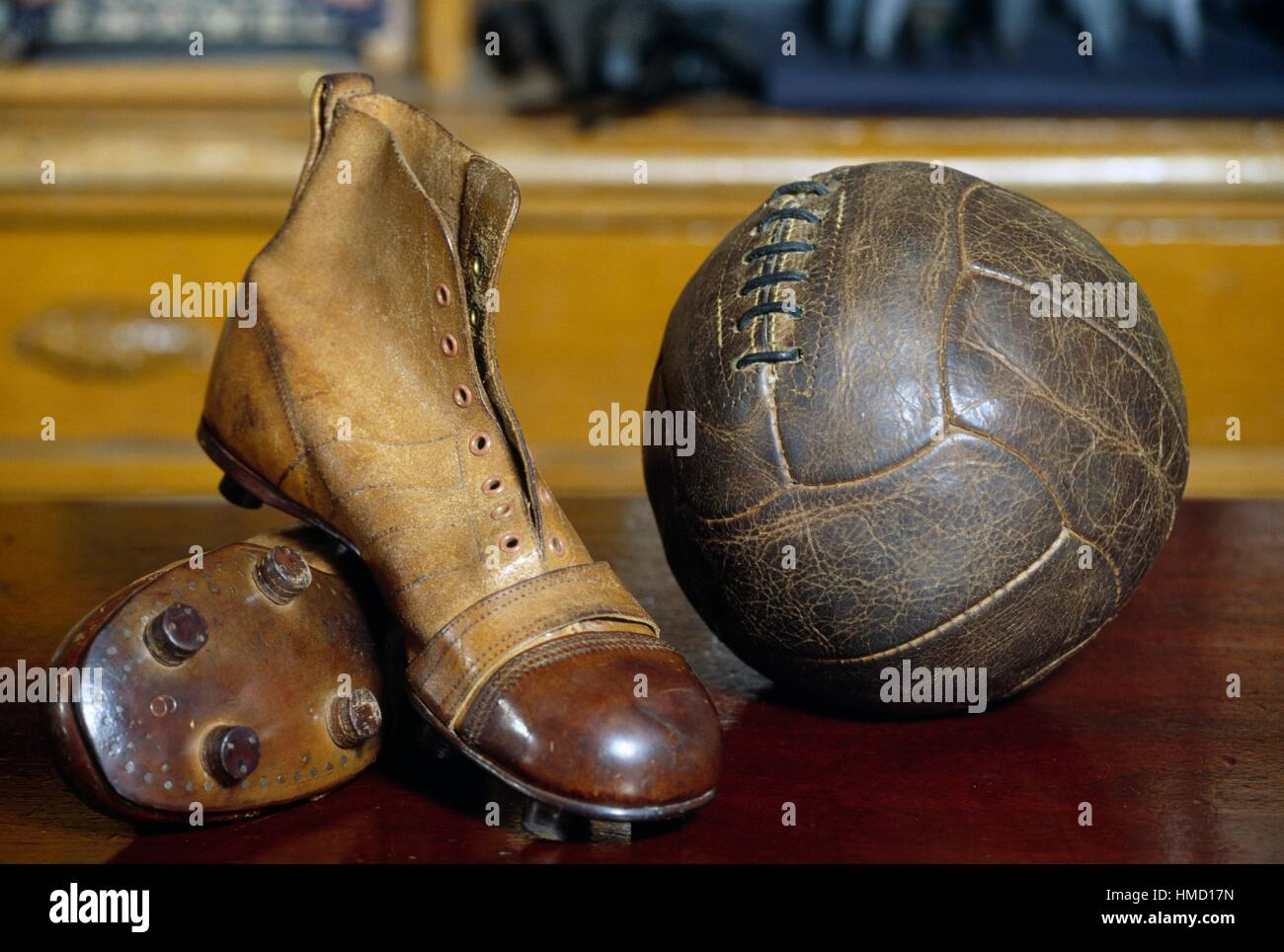 Vintage soccer boots and ball, Beamish Open Air Museum, County Durham,  England,