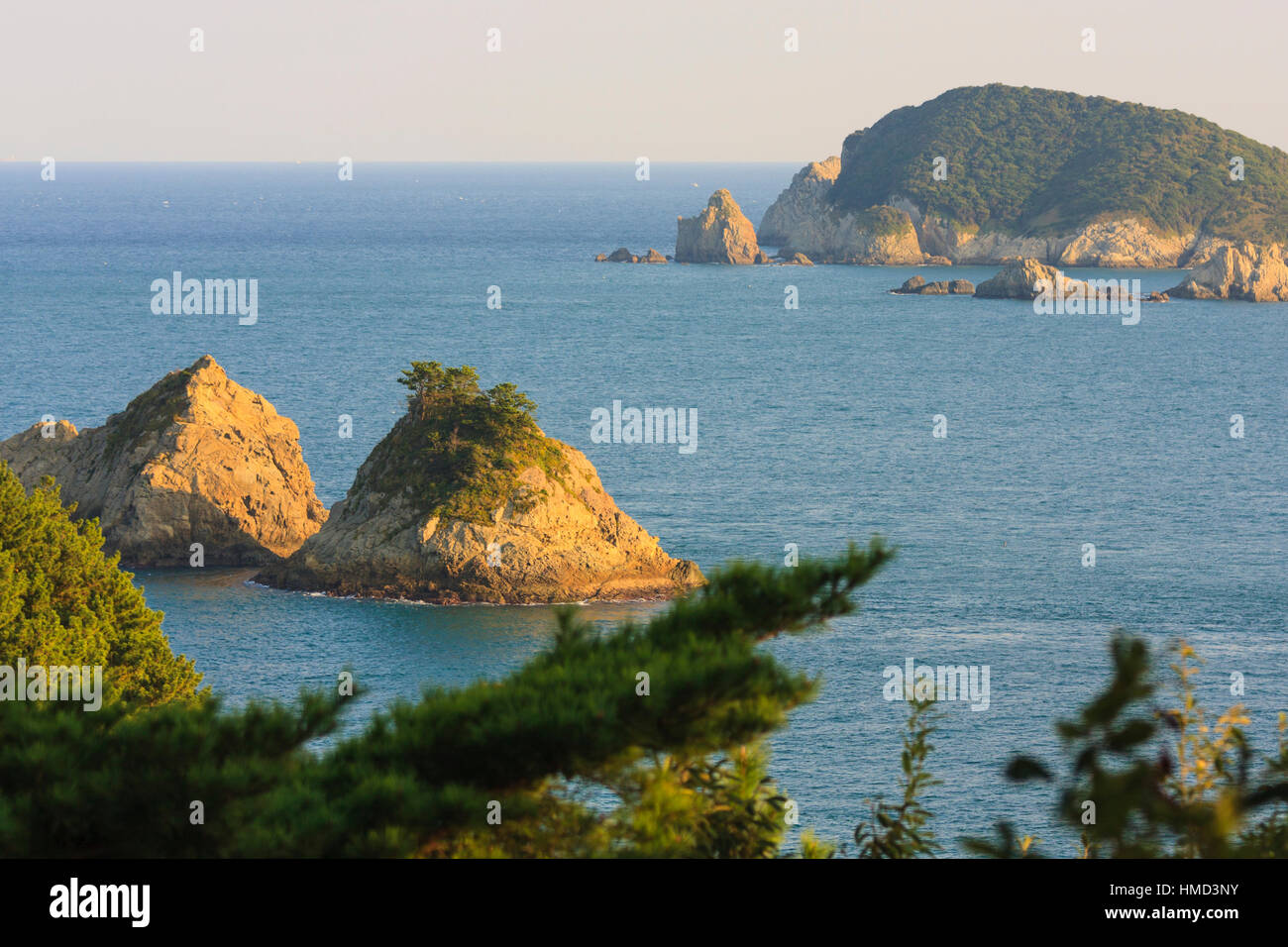 Daesobyeongdaedo near sunset; small islands off of Geojedo, South Korea - Stock Image