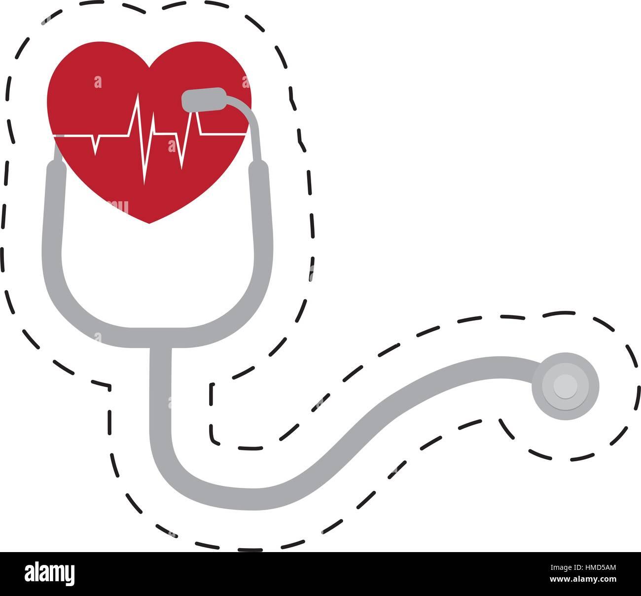 stethoscope pulse heart diagnosis cut line - Stock Image