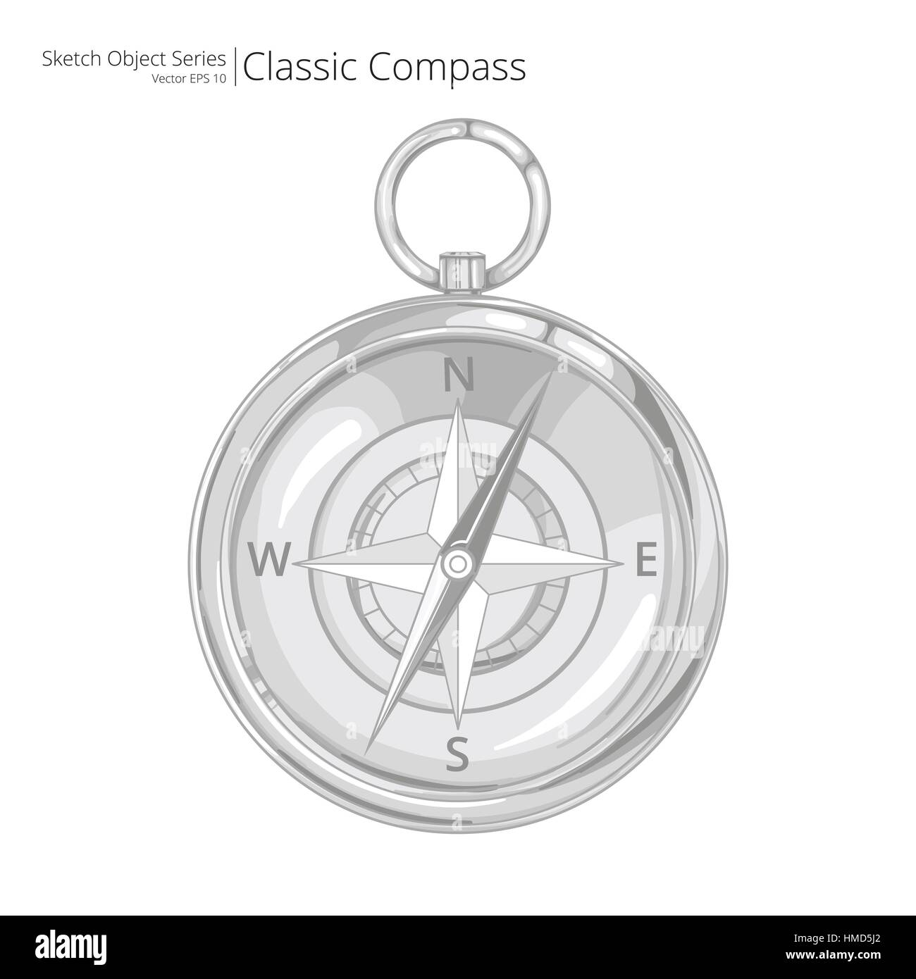 Sketch style Vector Illustration of a Compass. - Stock Image