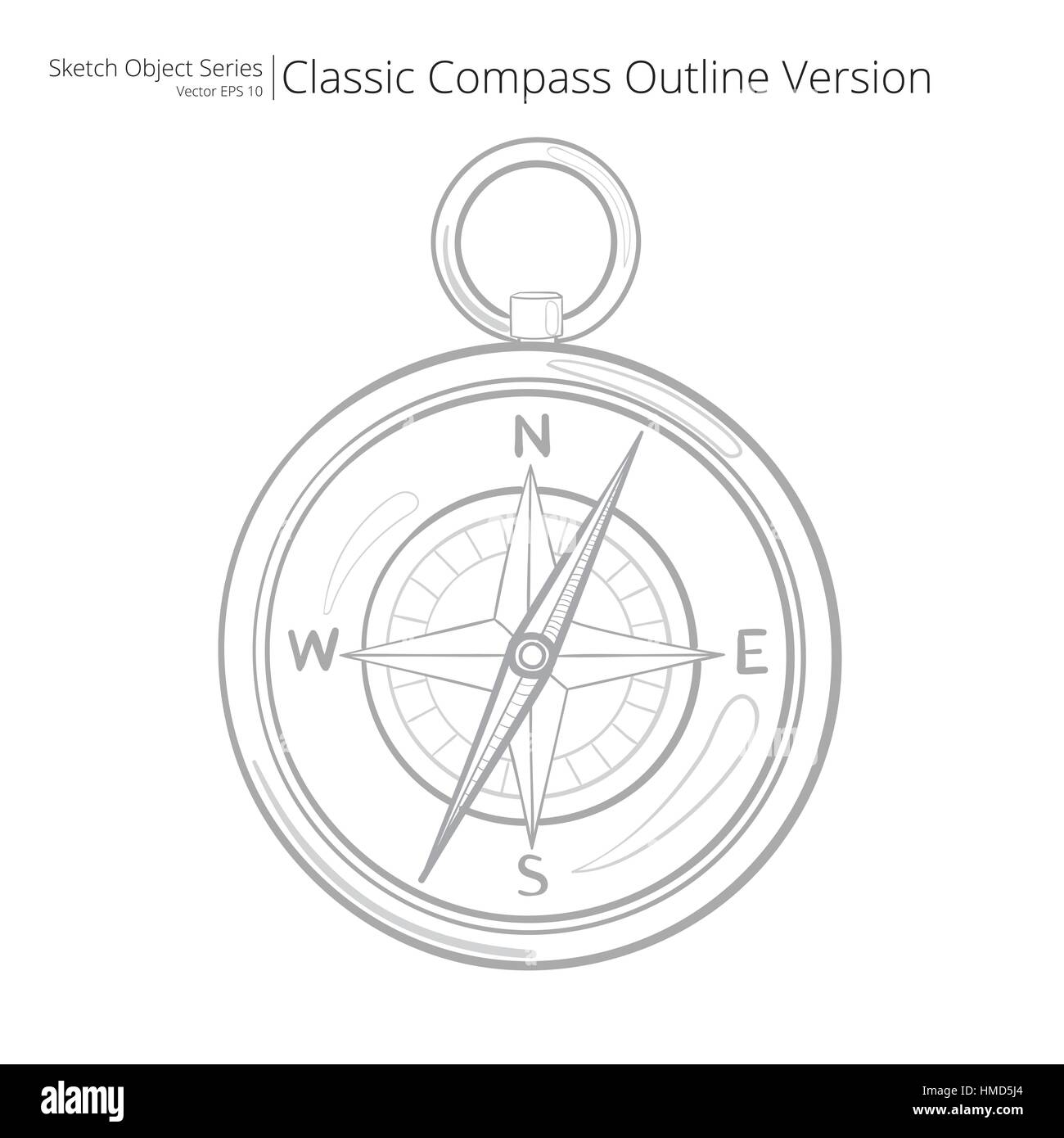 Sketch style Vector Illustration of a Compass. Outline Version. - Stock Image