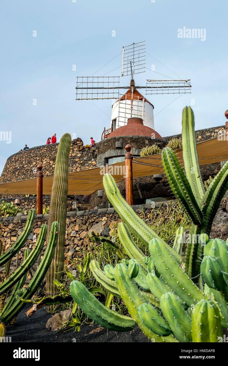 Cactus Garden Jardin De Cactus Designed By Cesar Manrique Stock