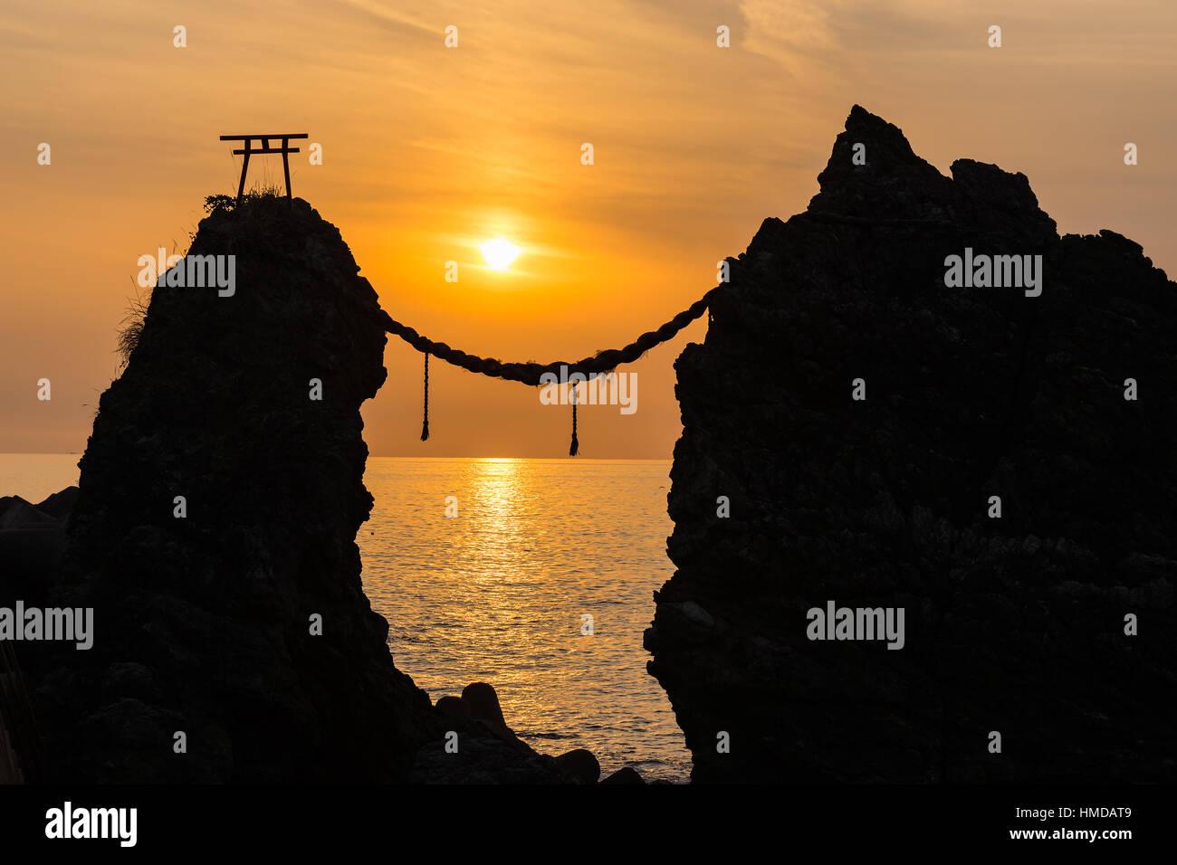 Meoto Iwa (Married Couple Rocks) of Cape Nomo at dusk in Nagasaki, Japan. - Stock Image