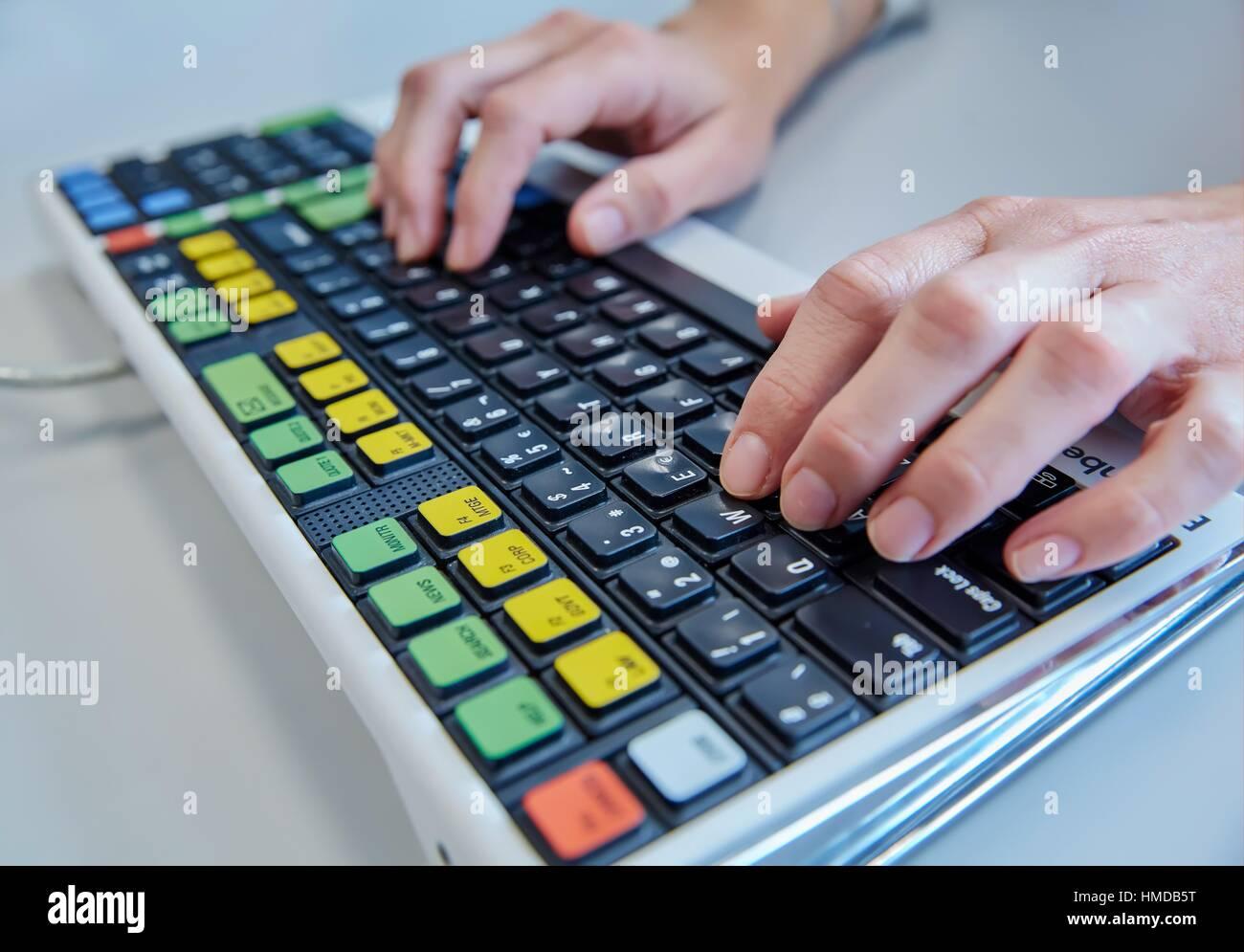 Keyboard. Stockbroker. Stock market. - Stock Image