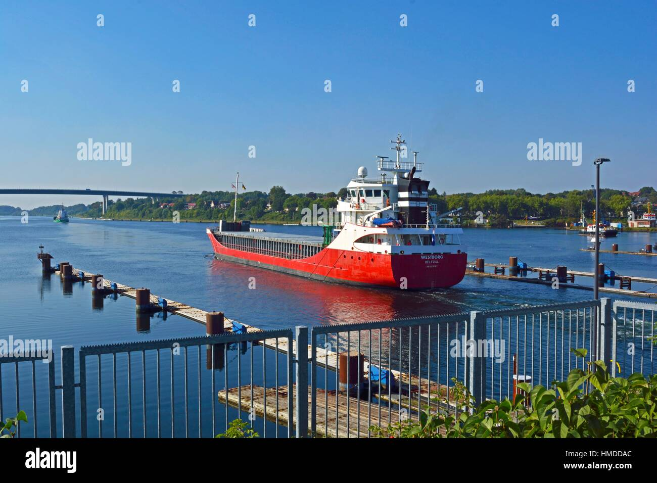 At the entrance of the Kiel Canal at Kiel-Holtenau, Schleswig-Holstein, Germany. - Stock Image