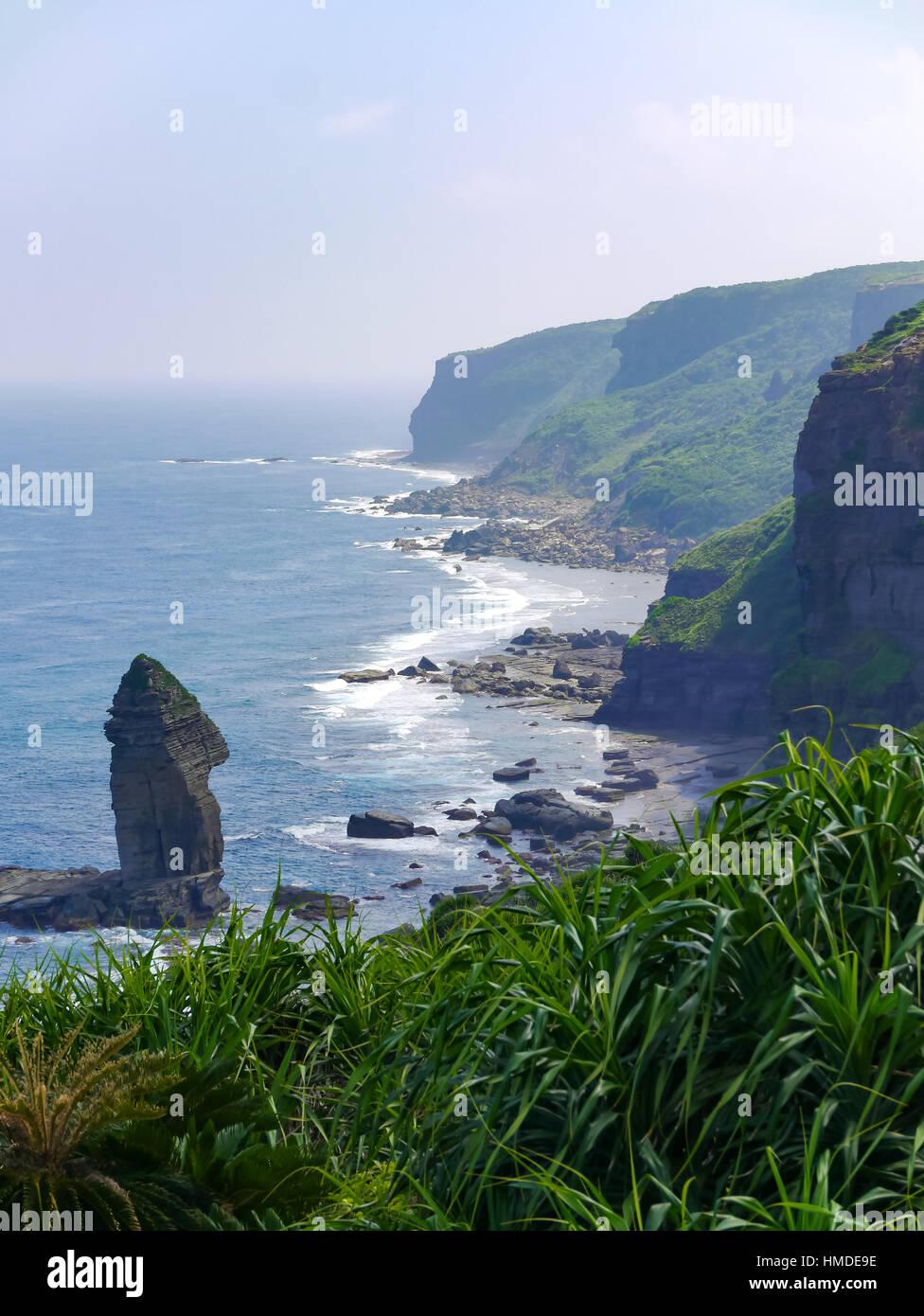 Tategami Iwa (Tategami Rock) in Yonaguni Island, western border island of Japan. Yonaguni Island a part of Okinawa. - Stock Image