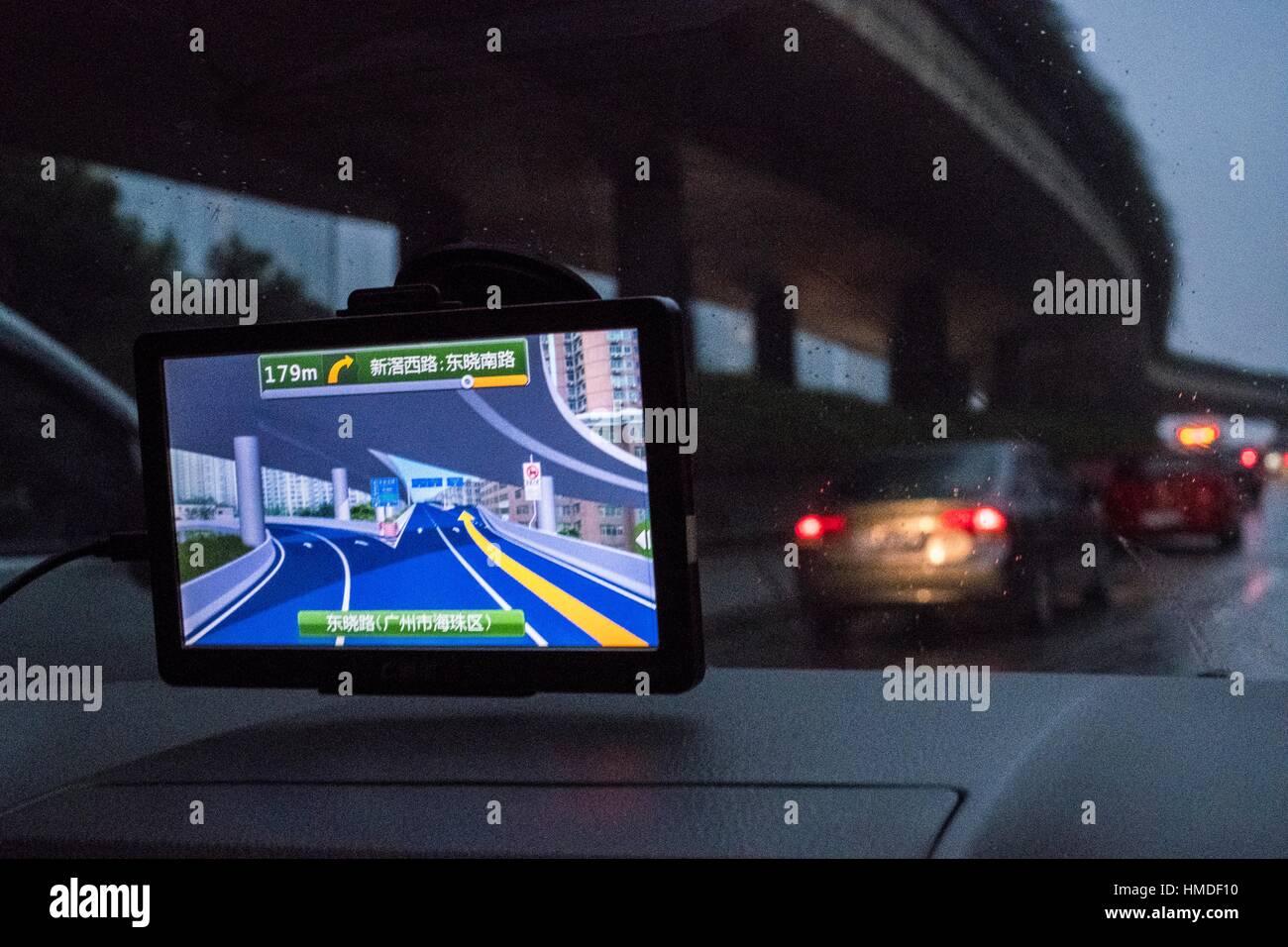 Gps satellite navigator in car - Stock Image