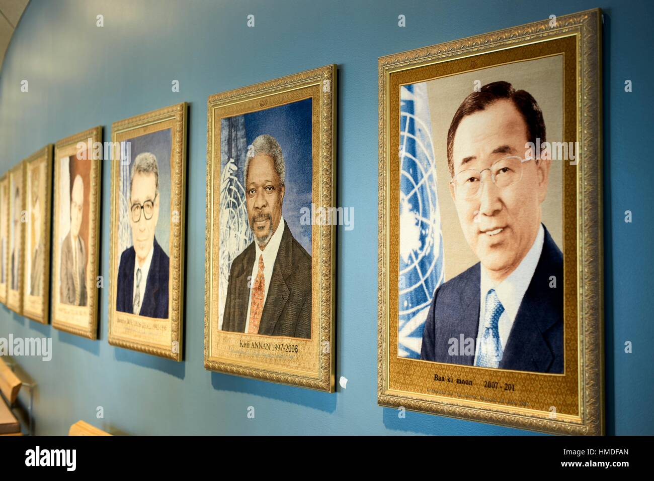 Paintings depicting the Former Secretaries General of the United Nations. United Nations Headquarters Manhattan, - Stock Image