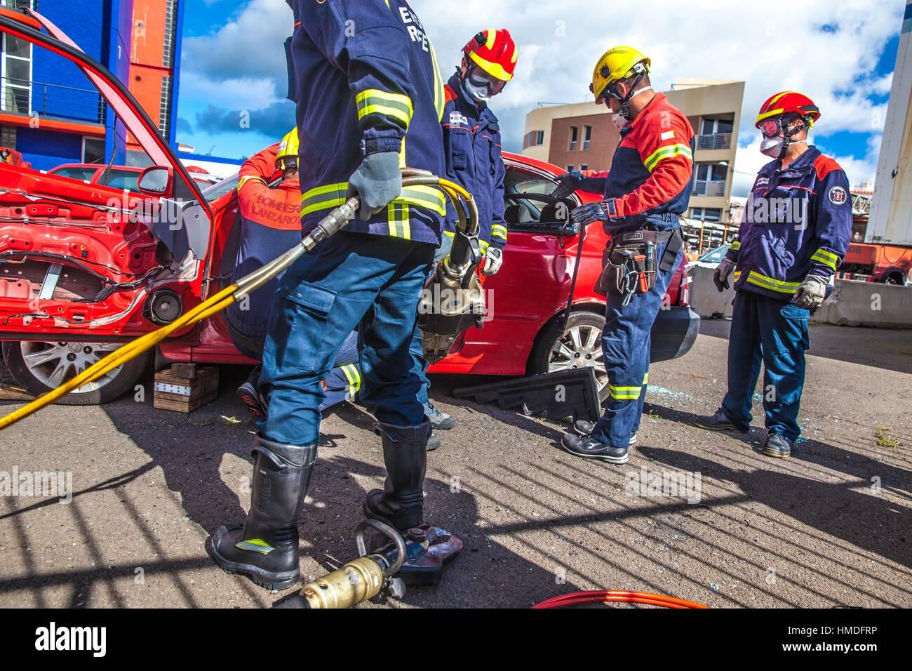 Firemen Manoeuvre in the fire station of San Cristobal de La Laguna - Stock Image