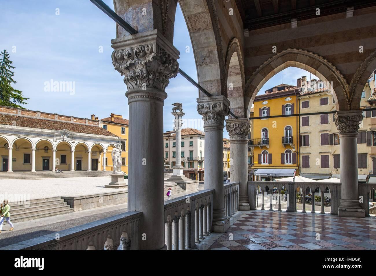 View of Piazza della Libertà from San Giovanni Arcades, Udine, Friuli-Venezia Giulia, Italy - Stock Image
