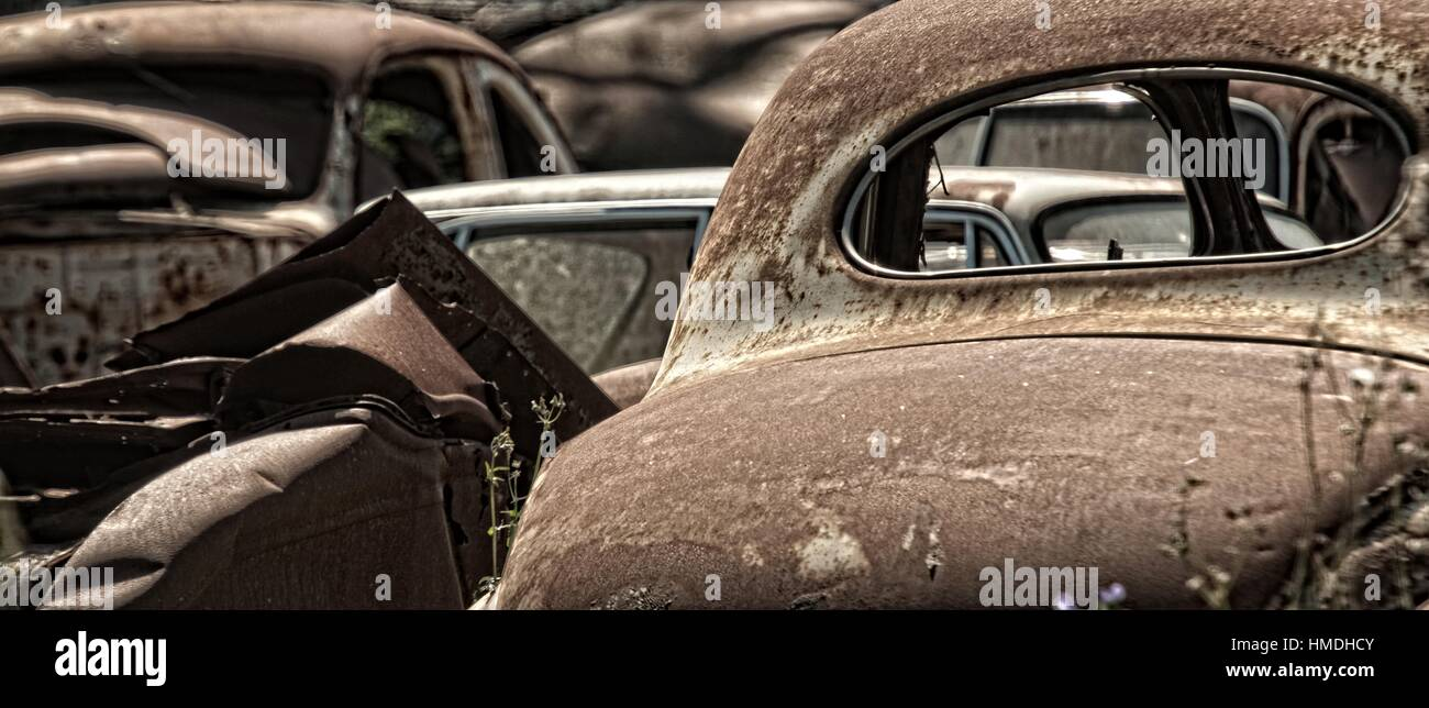 Old, scrapped motor vehicles. Cape Town, South Africa. - Stock Image