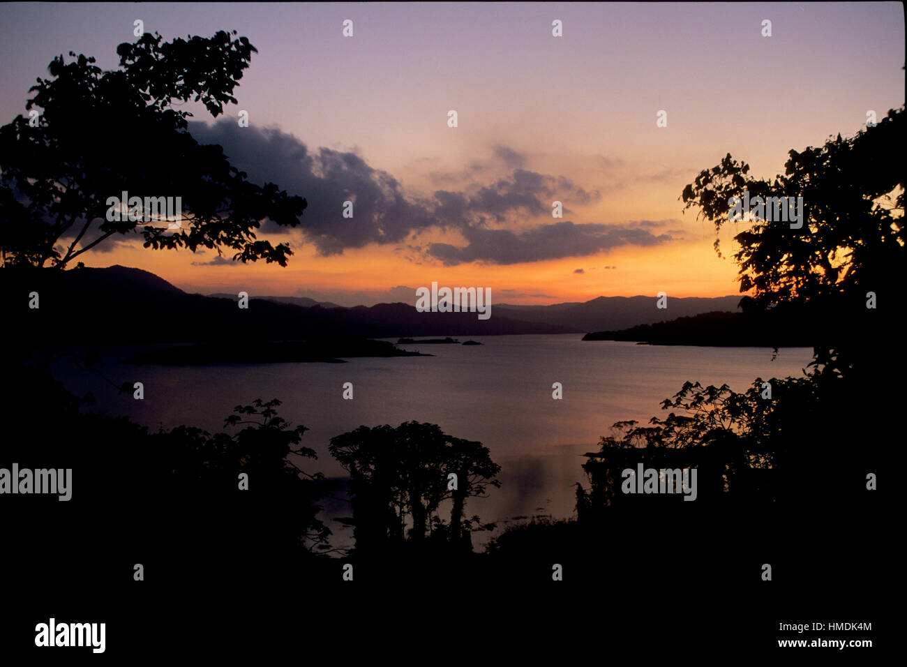 Lake Arenal at sunset, looking west. Arenal National Park, Costa Rica - Stock Image