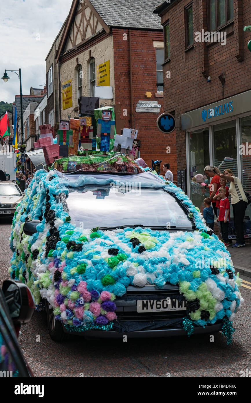 A Minecraft float in the  Prestatyn Carnival parade - Stock Image
