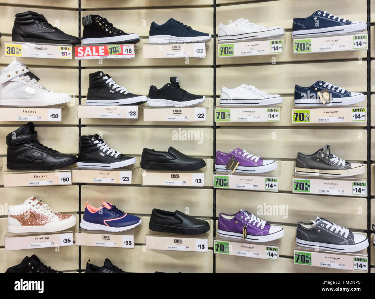 Shoe display in Sports Direct store. UK