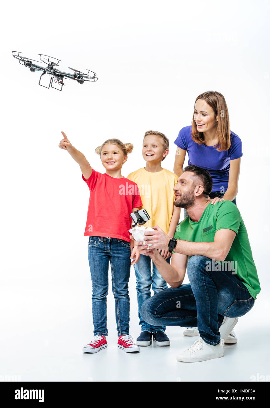 Kids using flying hexacopter drone Stock Photo: 133068414