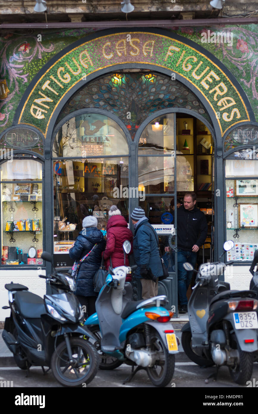 Art nouveau decoration at Antigua Casa Figueras, home of Escriba chocolate shop, Rambla street, Barcelona, Catalonia, - Stock Image