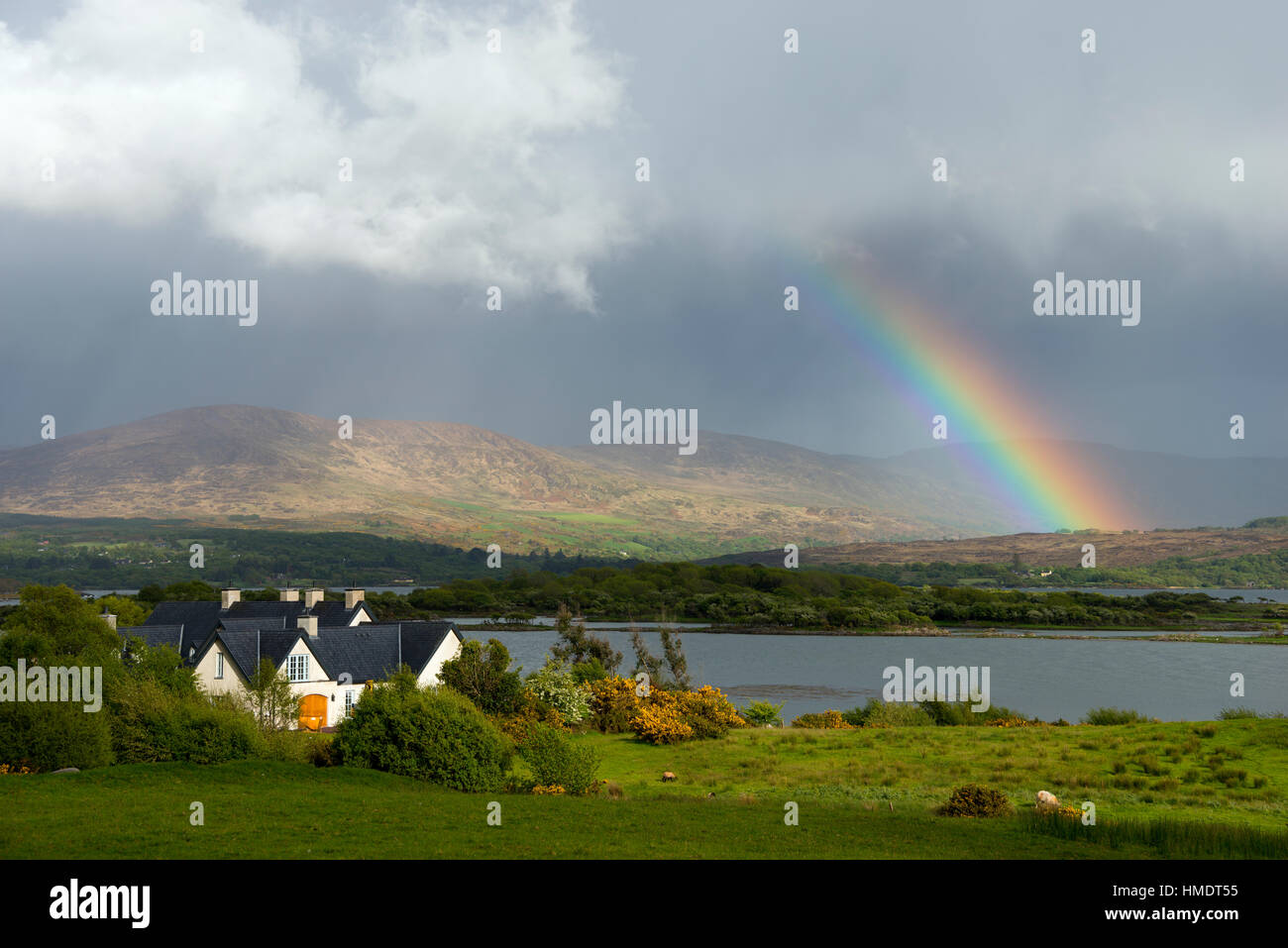 Rainbow near Blackwater, Ring of Kerry, Ireland, United Kingdom - Stock Image