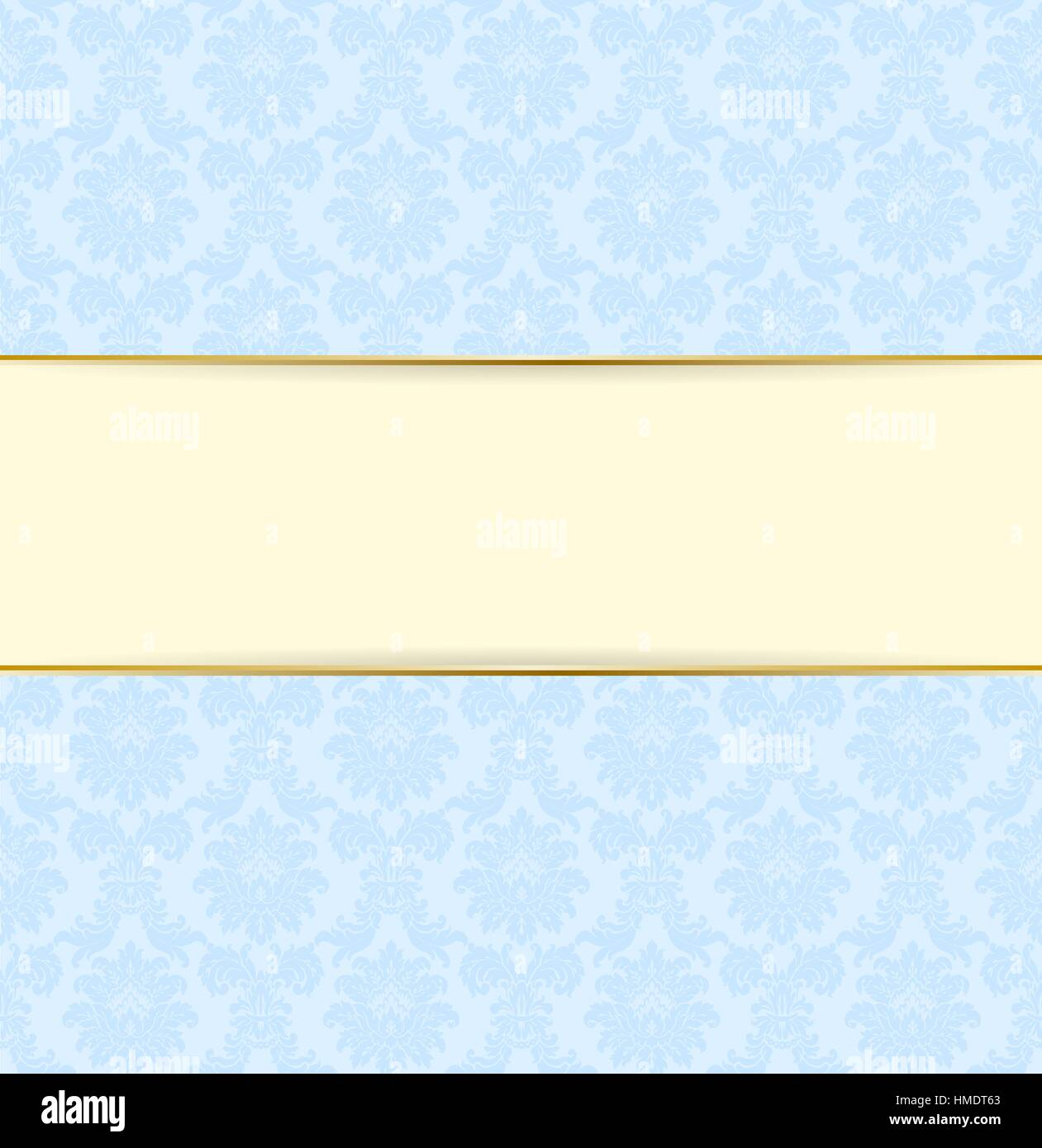 5a31ba3101d Vector blue and vanilla color retro style banner. Light frame design with  golden line. Floral background with text line. Vintage card design