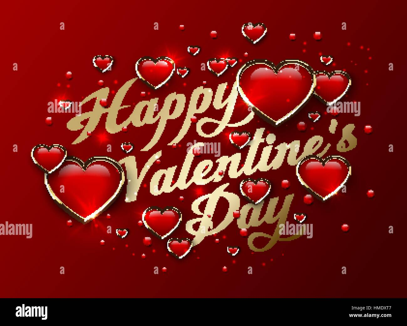 Happy Valentines Day Golden Lettering Greeting Card With Glossy 3d